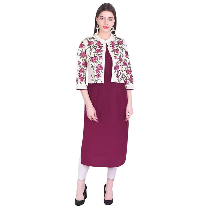 Women Solid Rayon Blend Straight Kurta With Embroidery On Jacket