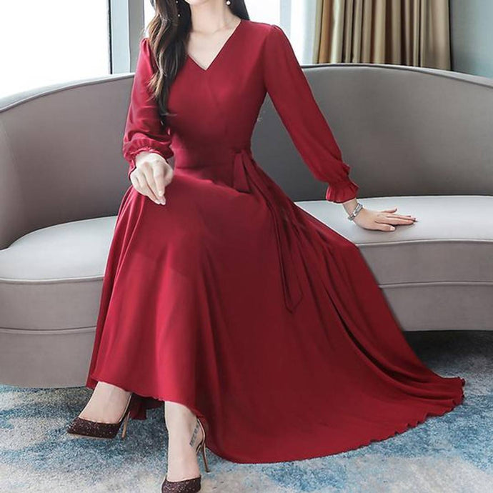 Women Red V-Neck Long Sleeve Georgette Maxi Dress