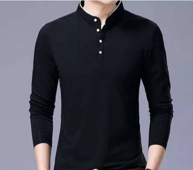 Men's Black Cotton Solid Mandarin Tees