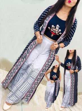 Gorgeous Navy Blue Embroidered Rayon Women Top Palazzo Set with Shrug
