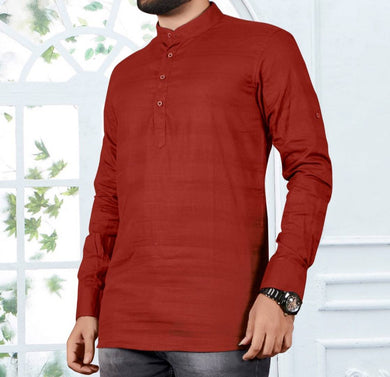 Men's Red Cotton Striped Short Length Kurta