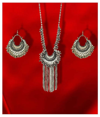 Silver Long Afghani Contemporary/Fashion Antique Necklace set Combo