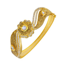 Load image into Gallery viewer, Trendy Kundan Studded Meenakari Gold Toned Openable Kada For Women