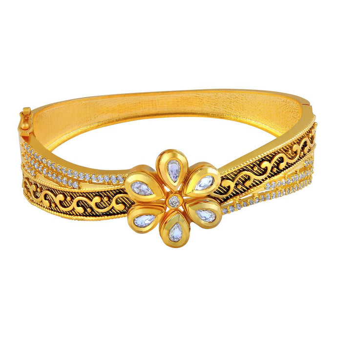Trendy Kundan Studded Meenakari Gold Toned Openable Kada For Women
