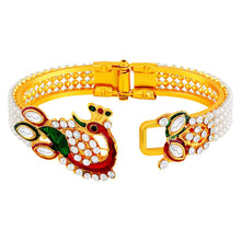 Load image into Gallery viewer, Fancy Peacock Inspired Kundan Pearl Studded Gold Toned Openable Kada For Women