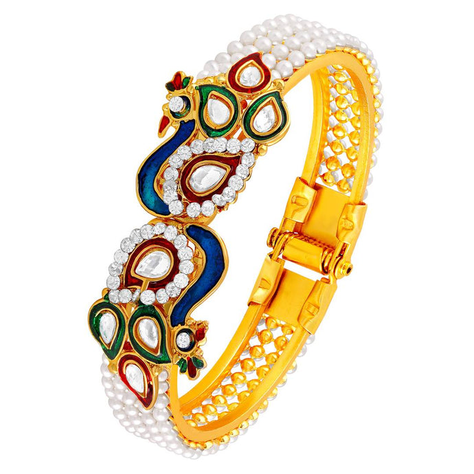 Fancy Peacock Inspired Kundan Pearl Studded Gold Toned Openable Kada For Women