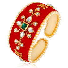 Load image into Gallery viewer, Traditional Velvet Jewel Cuff Red Kada For Women