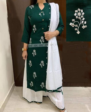 Rayon Embroidery Kurta With Palazzo & Dupatta Set