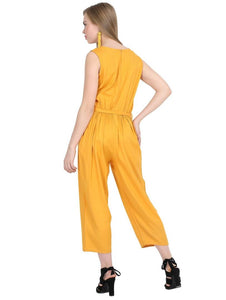 Yellow Rayon Dyed Regular Wear Jump Suit
