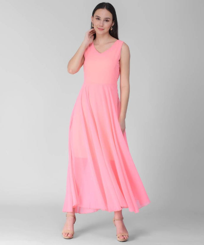 Women's Pink V-Neck Long Dress