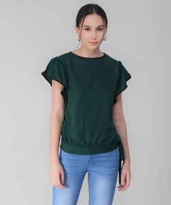 Women's Green Frill Top in Rayon