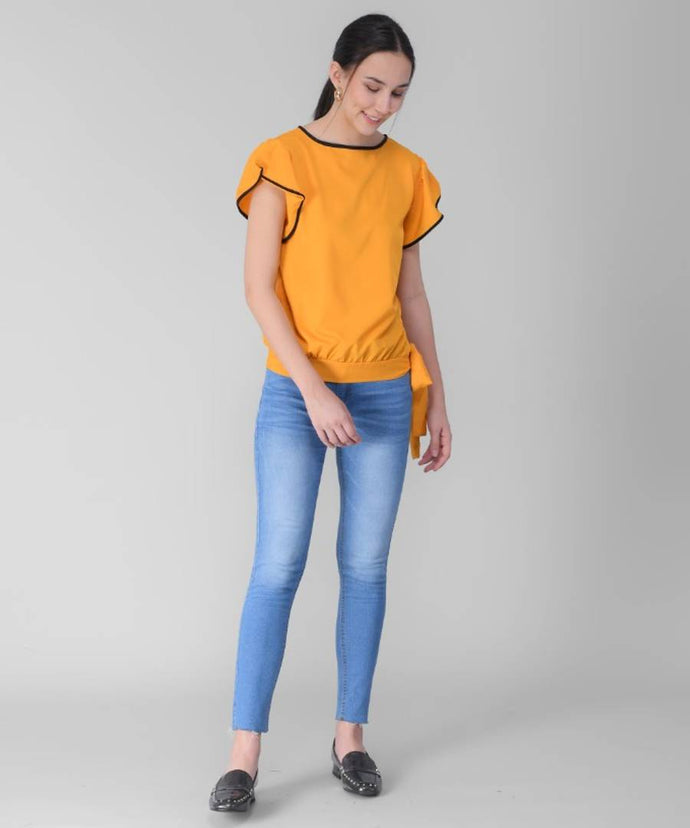 Women's Yellow Frill Top in Rayon