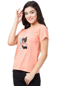 Stylish Orange Cotton Blend Printed T-Shirt For Women
