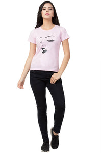 Stylish Pink Cotton Blend Printed T-Shirt For Women