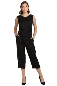 Solid Black Jumpsuit for women