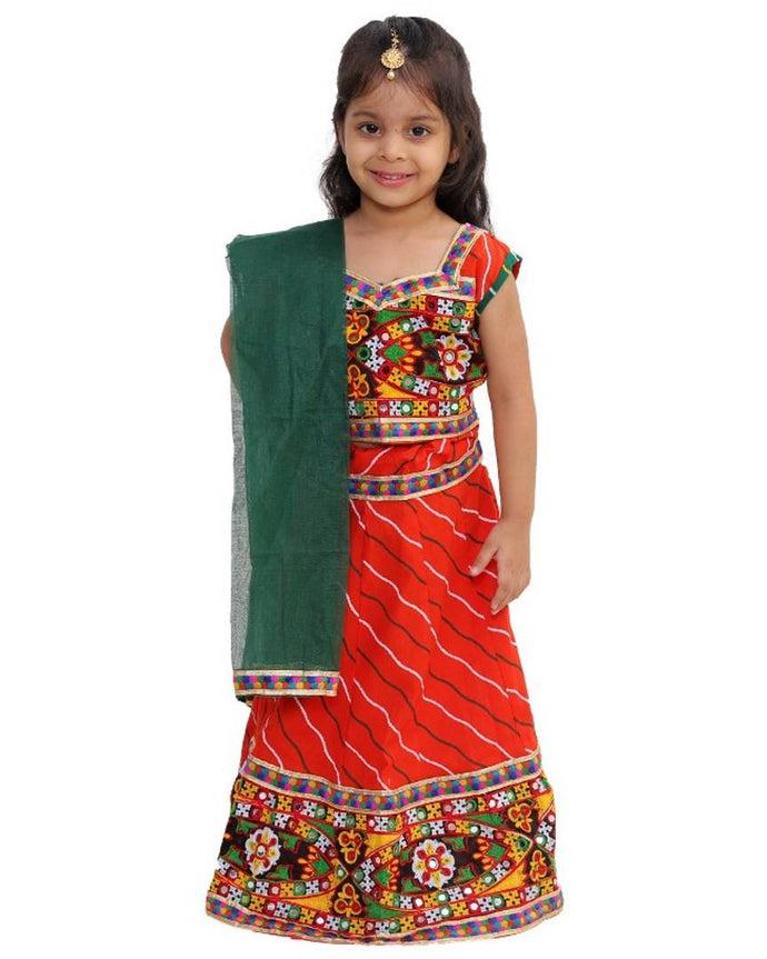 Heavy Lacework Lehenga Choli + Dupatta Set for Girls