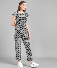 Load image into Gallery viewer, Women Black Line Printed Front Knot Jumpsuits