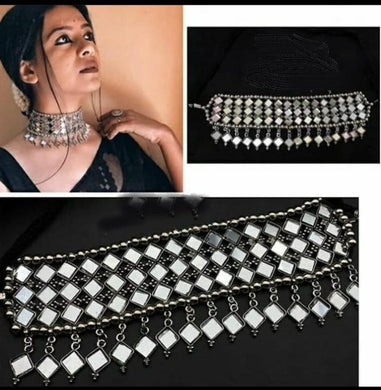 Latest Trendy Designer Oxidised Mirror Choker Necklace Set