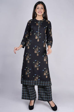 Stylish Rayon Printed Kurti And Rayon Palazzo Set