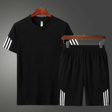 Black Striped Polyester Spandex Tees & Short Set