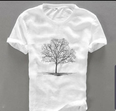 White Printed Cotton Round Neck Tees For Men