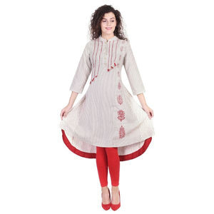 Women Designer Printed A-line Embroidered White Kurti