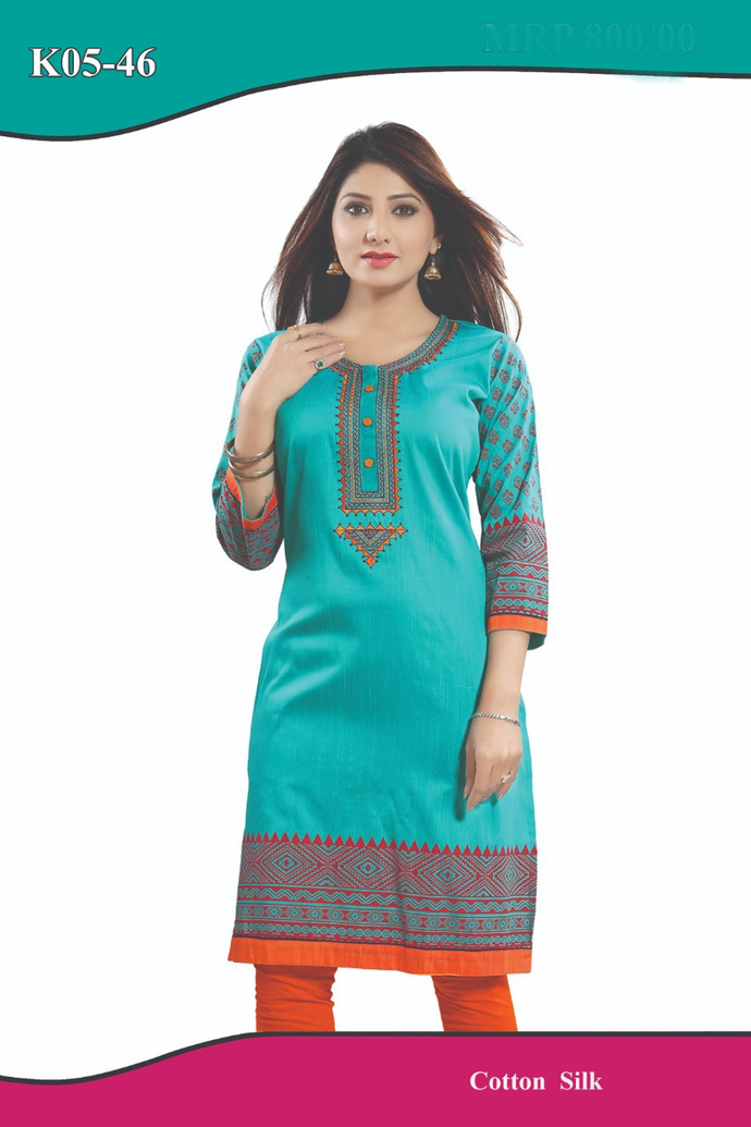 Gorgeous cotton silk kurti in denim Green