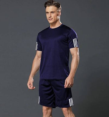 Men's Sports T Shirt & Shorts Set - Navy Blue