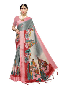Lassi new jute sarees with tassel with blouse