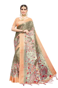 Parul new jute sarees with tassel with blouse