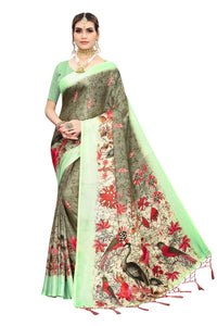 Sabrang new jute sarees with tassel with blouse