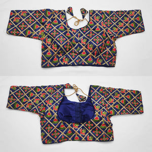 Heavy Tapta silk with thread work blouse in multi colour 3/4 sleeve