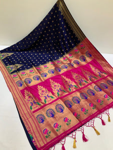 Semi Paithani Border all over butti Saree
