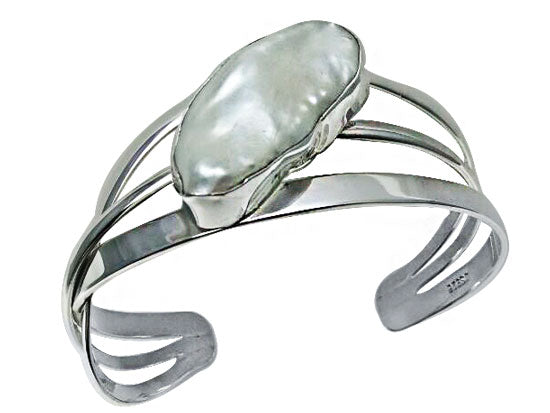 Sterling Silver and Pearl Cuff