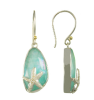 Amazonite + Mother of Pearl + White Quartz  Starfish Earrings