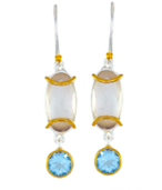 Sterling Silver and 22K Gold Vermeil Earrings with Quartz + Mother of Pearl and Sky Blue Topaz