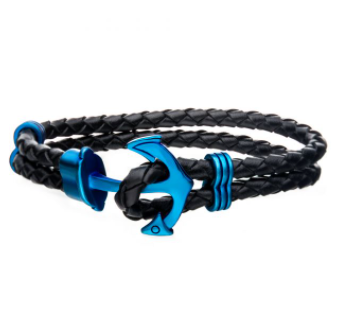Blue Plated Anchor with Black Leather Bracelet