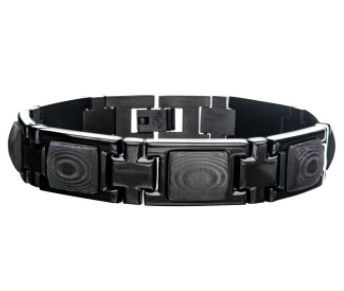 Two-Tone Stainless Steel and Black Carbon Fiber Link Bracelet