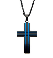 Matte Black & Blue Plated Layer Cross Pendant with Chain