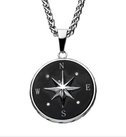 Stainless Steel and Black Plated Compass Pendant with Chain