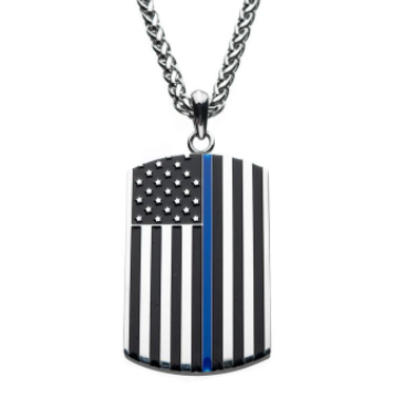 Stainless Steel Thin Blue Line American Flag Police Officer Enamel Pendant with Chain