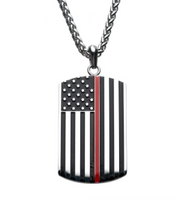 Thin Red Line American Flag Firefighter Dog Tag Pendant with Chain