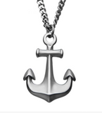Stainless Steel Antiqued Finish Nautical Anchor Pendant with Chain