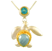 Sterling Silver & 22K Gold Vermeil Turtle Pendant with Paraiba Topaz and Peruvian Calcite