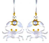 Sterling Silver and 22K Gold Vermeil Crab Earrings with White Freshwater Pearl