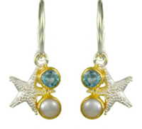 Sterling Silver & 22K Gold Vermeil Starfish Earrings with Blue Topaz and White Freshwater Pearl