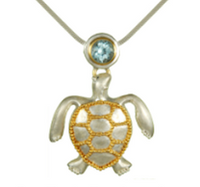Sterling Silver & 22K Gold Vermeil Sea Turtle Necklace with Blue Topaz