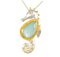 Sterling Silver & 22K Gold Vermeil Sea Horse Necklace with Amazonite+Quartz+Mother of Pearl