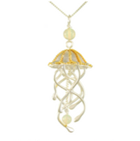 Sterling Silver & 22K Gold Vermeil Jellyfish Necklace with Ethiopian Opal