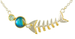 Sterling Silver & 22K Gold Vermeil Fish Bone Necklace with Sky Blue Topaz and Rainbow Moonstone